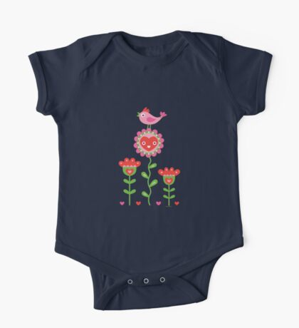 Happy - flowers bird hearts Kids Clothes