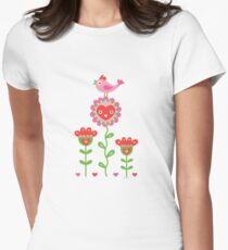Happy - flowers bird hearts Womens Fitted T-Shirt