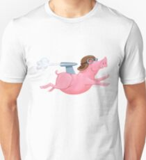 Jetpack Powered Flying Pig with WW1 Pilot Cap T-Shirt