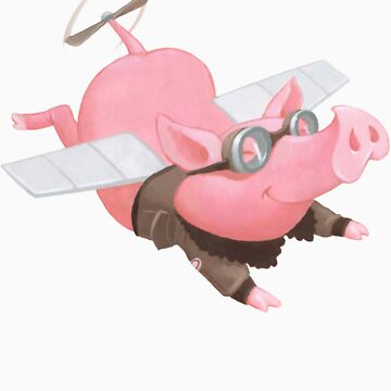 Flying Pig with Propeller Tail and WWII Bomber Jacket by chadcameron