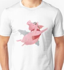 Joyful Flying Pink Pig with Red Scarf T-Shirt