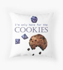 I'm only here for the cookies and dice - purple Throw Pillow