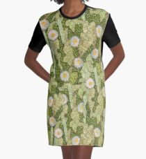 Cacti Camouflage, Floral Pattern, Khaki Olive Green Graphic T-Shirt Dress