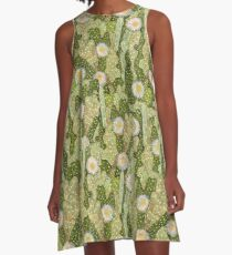 Cacti Camouflage, Floral Pattern, Khaki Olive Green A-Line Dress