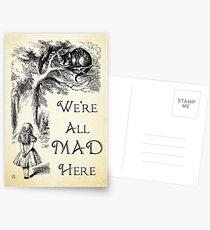 Alice im Wunderland-Zitat - wir sind alle hier verrückt - Cheshire Cat Quote - 0104 Postkarten