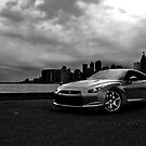 Nissan GT-R Black Monochrome City Skyline by LongbowX