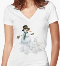 Snowman with Carrot Nose Facing Hungry Bunnies Women's Fitted V-Neck T-Shirt