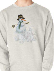Snowman with Carrot Nose Facing Hungry Bunnies T-Shirt