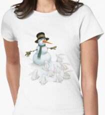Snowman with Carrot Nose Facing Hungry Bunnies Women's Fitted T-Shirt