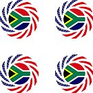 South African American Multinational Patriot Flag Series by Carbon-Fibre Media