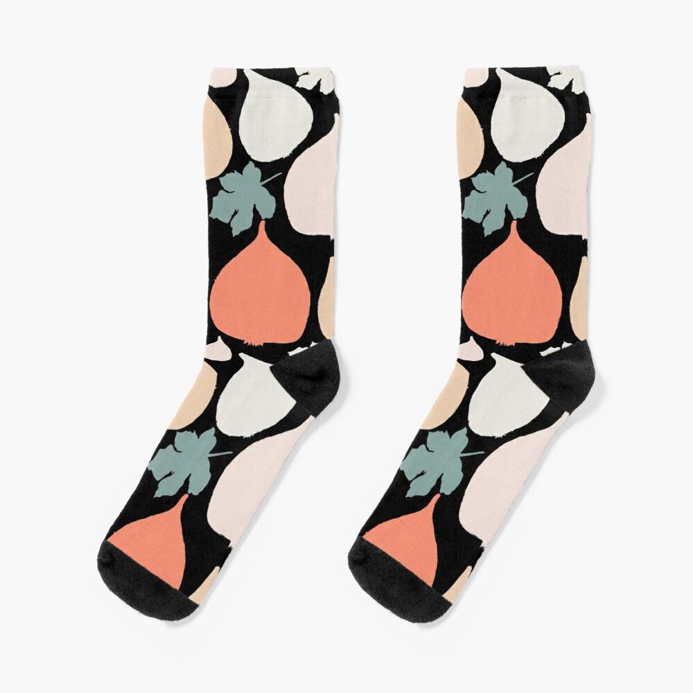 Feigen mit schwarzer Hintergrund Muster Socken