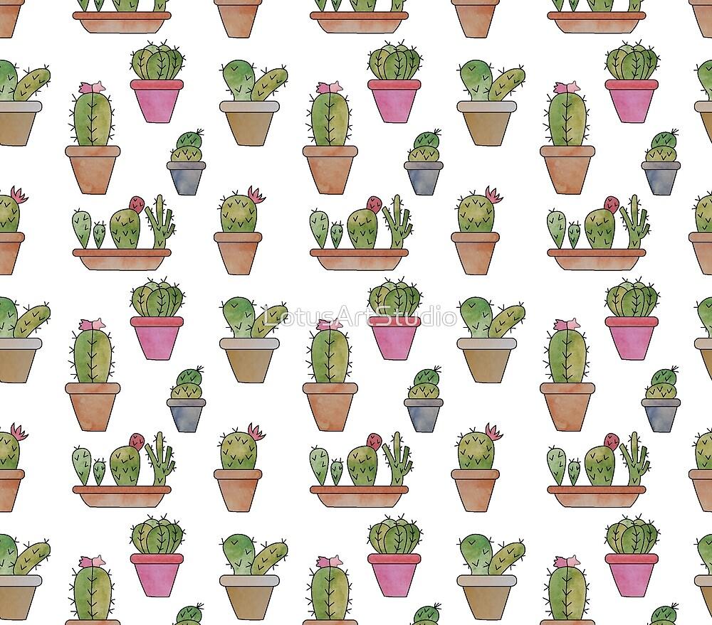 Cactus watercolor by LotusArtStudio