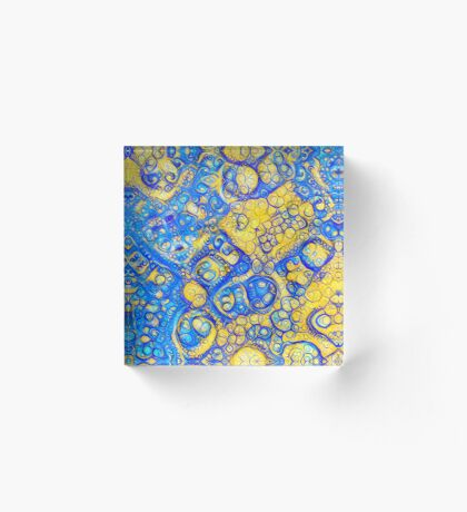 Yellow and Blue abstraction Acrylic Block