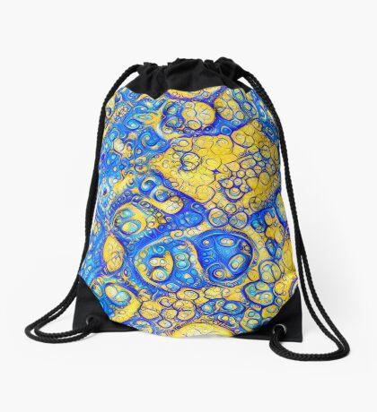 Yellow and Blue abstraction Drawstring Bag