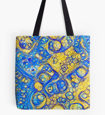 Yellow and Blue abstraction Tote Bag