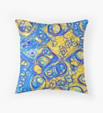 Yellow and Blue abstraction Throw Pillow