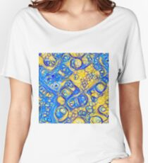Yellow and Blue abstraction Relaxed Fit T-Shirt