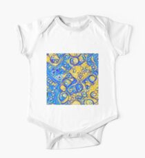 Yellow and Blue abstraction Short Sleeve Baby One-Piece