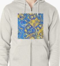 Yellow and Blue abstraction Zipped Hoodie