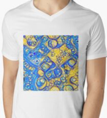 Yellow and Blue abstraction V-Neck T-Shirt