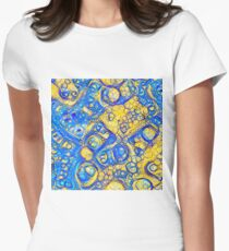 Yellow and Blue abstraction Fitted T-Shirt