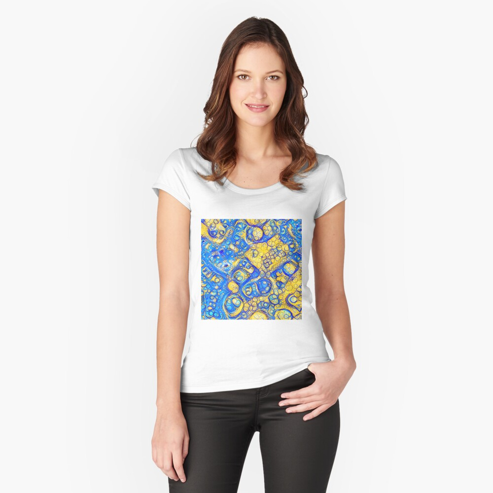 Yellow and Blue abstraction Fitted Scoop T-Shirt