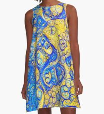 Yellow and Blue abstraction A-Line Dress
