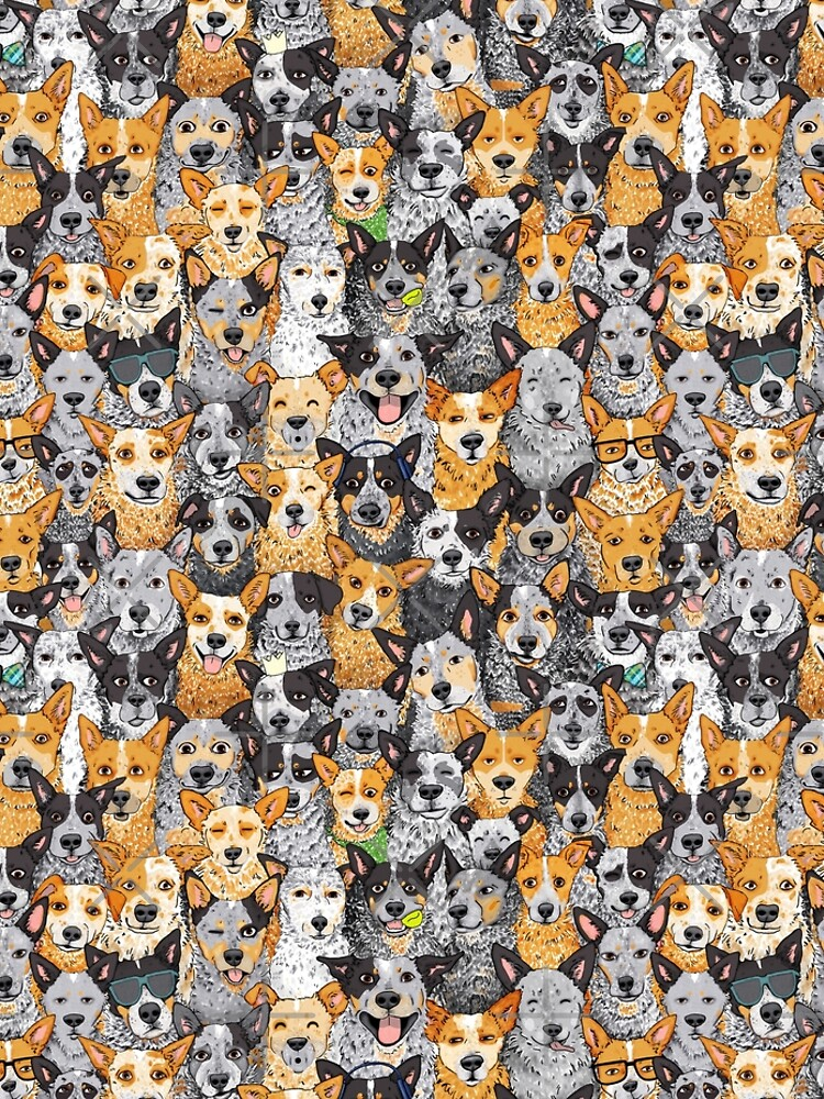 Cattle Dog Mixed Expressions, by Artwork by AK by artworkbyak