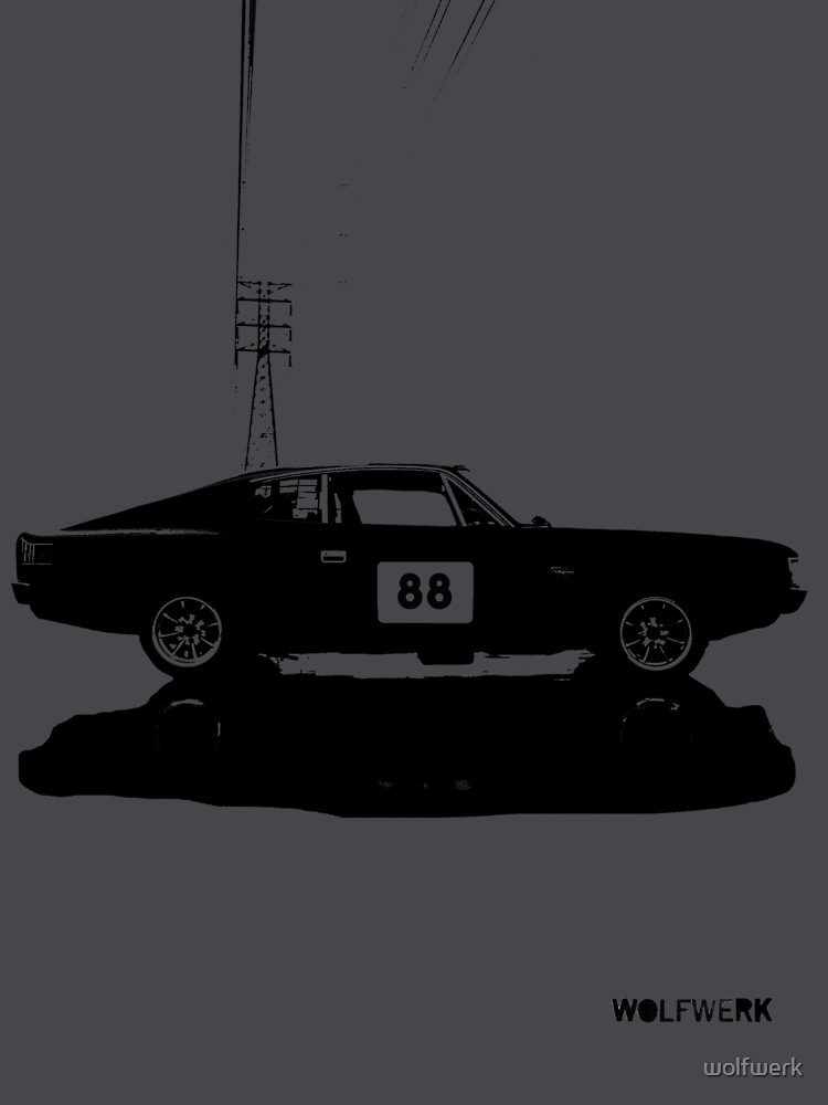 Valiant Charger Australian Muscle Car Side View With Power Lines 88