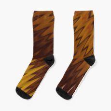 Yellow/Brown Diagonal Pattern Socks