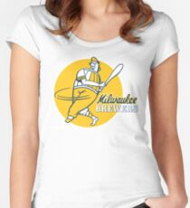 Retro Vintage Milwaukee Brewers Women's Fitted Scoop T-Shirt