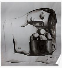 Woman with oranges, ink on paper, 1998 Poster
