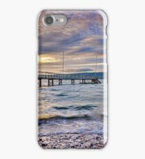 Storm clouds over jetty iPhone Case/Skin