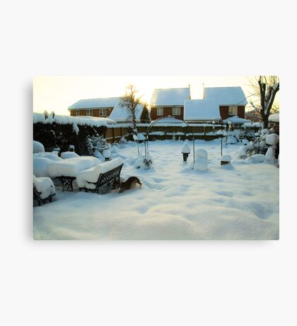 Snow on the Back Garden UK Canvas Print