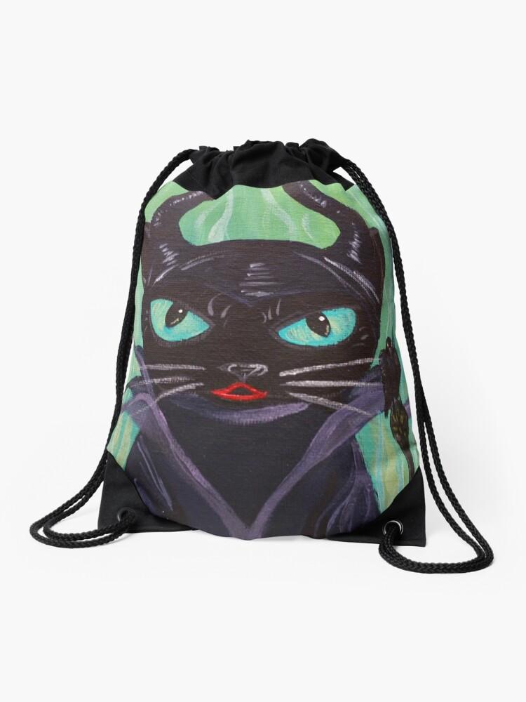 Maleficent Witch Raven Black Cat Villain Drawstring Bag