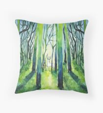 Stag in Forest Watercolour Painting Throw Pillow
