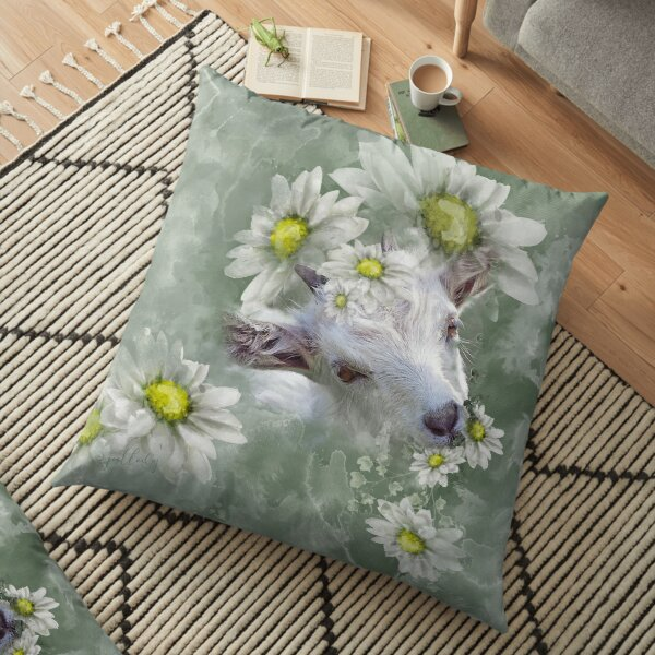 Don't Eat the Daisies Baby Goat Floor Pillow