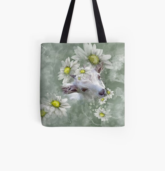Don't Eat the Daisies Baby Goat All Over Print Tote Bag