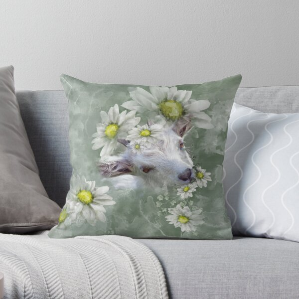 Don't Eat the Daisies Baby Goat Throw Pillow