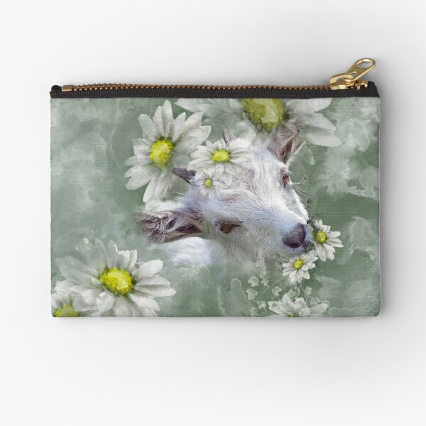Don't Eat the Daisies Baby Goat Zipper Pouch