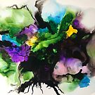 "Freeflowing Alcohol Ink artwork (purple and green) ""Mixed emotions"" by Sandra Vincent"