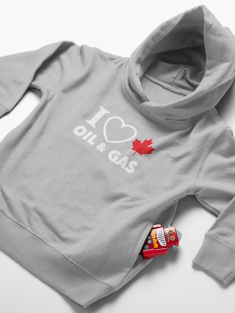 Alternate view of I Love Canadian Oil and Gas Red Heart and Maple Leaf Alberta Pipelines black background MCGA HD HIGH QUALITY ONLINE STORE Toddler Pullover Hoodie