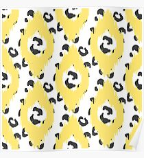 Yellow Ikat and leopard skin Poster