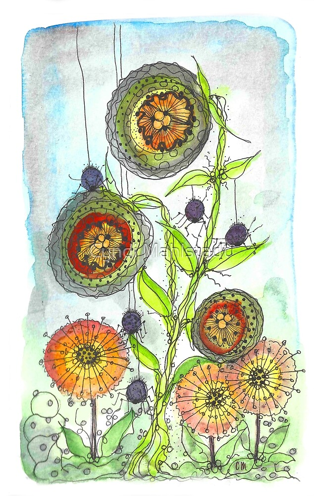 Autumn Flowers and Little Spiders by Cyndi Mahlstadt