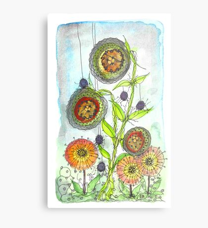 Autumn Flowers and Little Spiders Metal Print