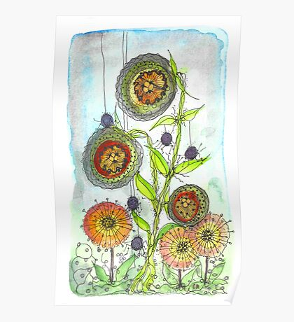 Autumn Flowers and Little Spiders Poster