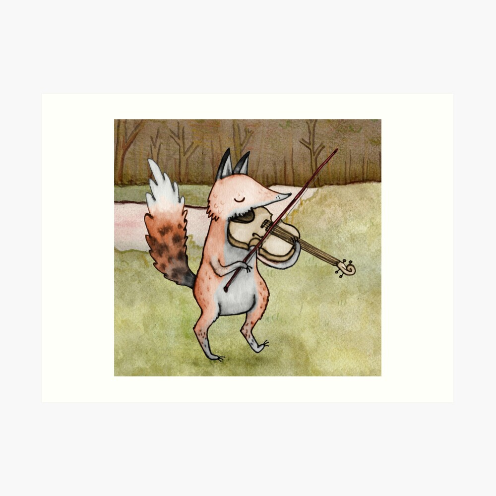 Violin Fox Art Print
