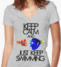 Keep Calm and Just Keep Swimming Women's Fitted V-Neck T-Shirt