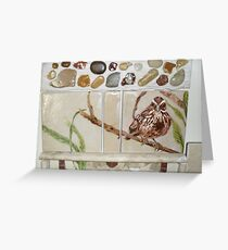 sparrow on a branch, on tile Greeting Card