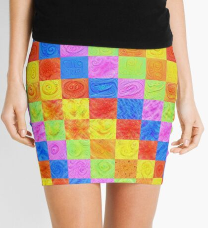 #DeepDream color factures Mini Skirt